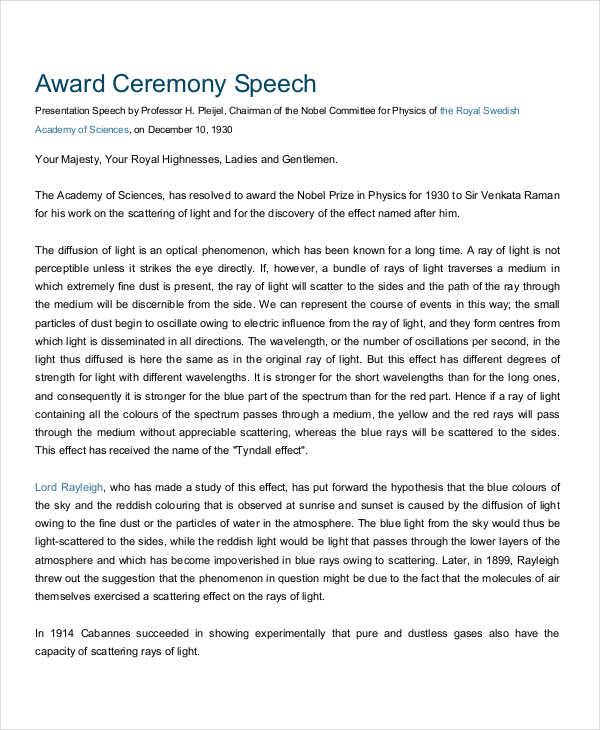 4+ Presentation Speech Examples, Samples