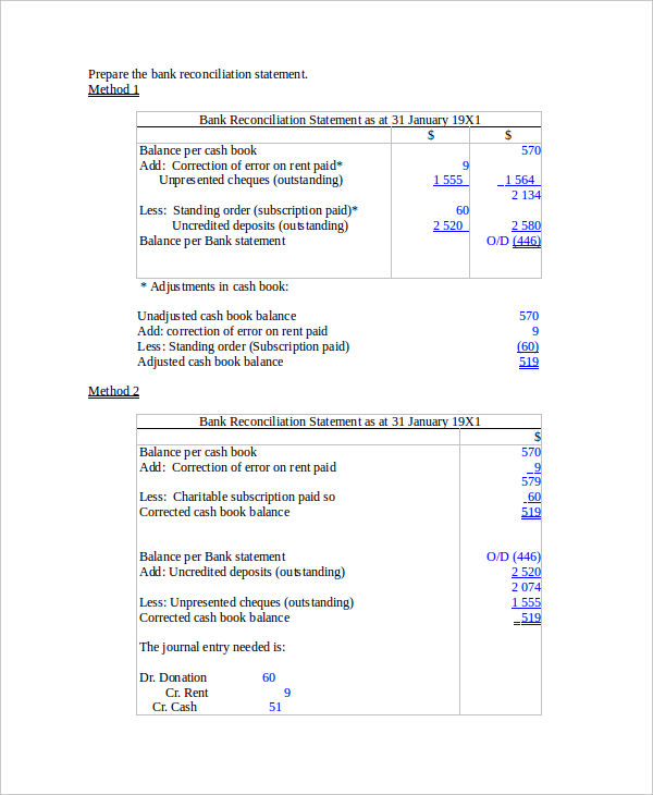 5+ Reconciliation Statement Examples, Samples - bank reconciliation example