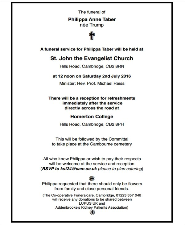 6+ Funeral Notice Examples  Samples Examples