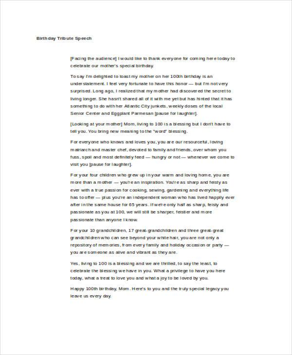 Birthday-Speech1jpg - tribute speech examplestraining evaluation form