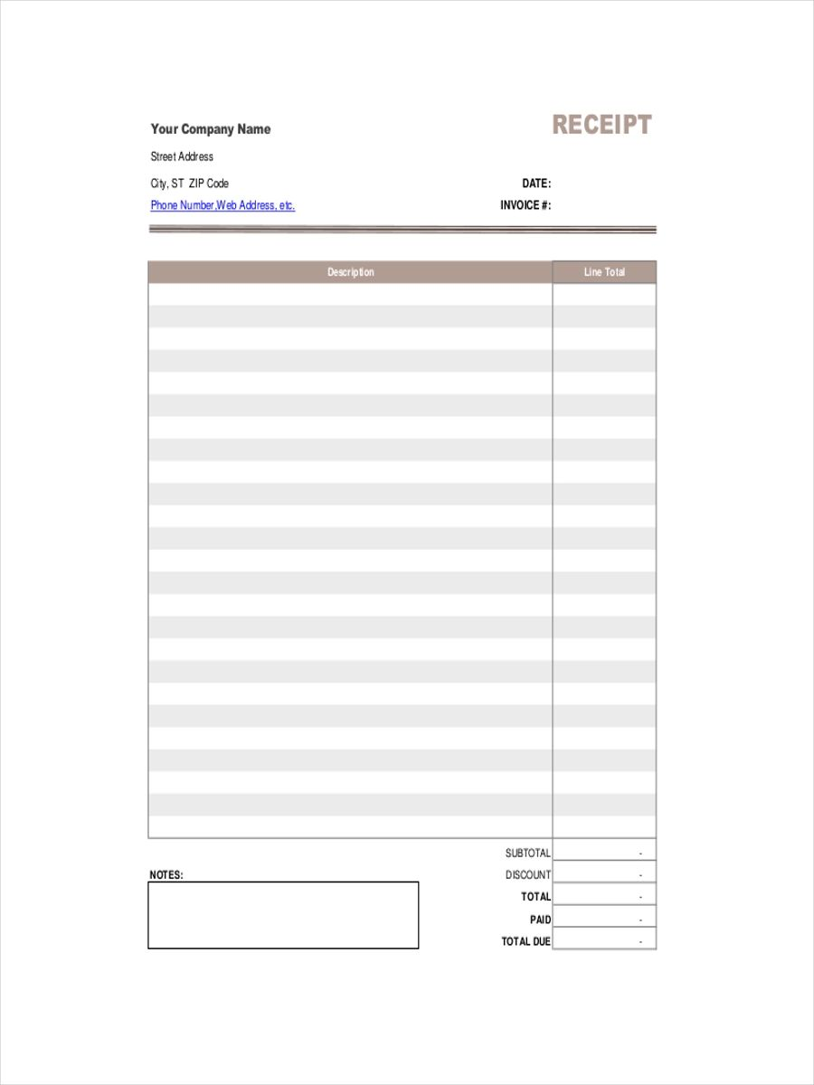 sample receipts of payment
