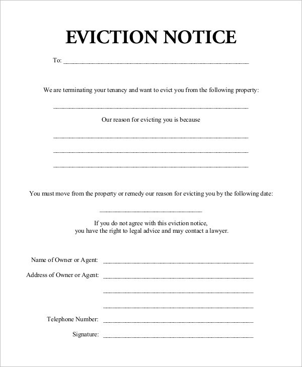 10+ Eviction Notice Examples  Samples