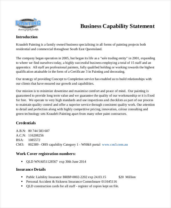 8+ Capability Statement Examples, Samples - professional statement examples