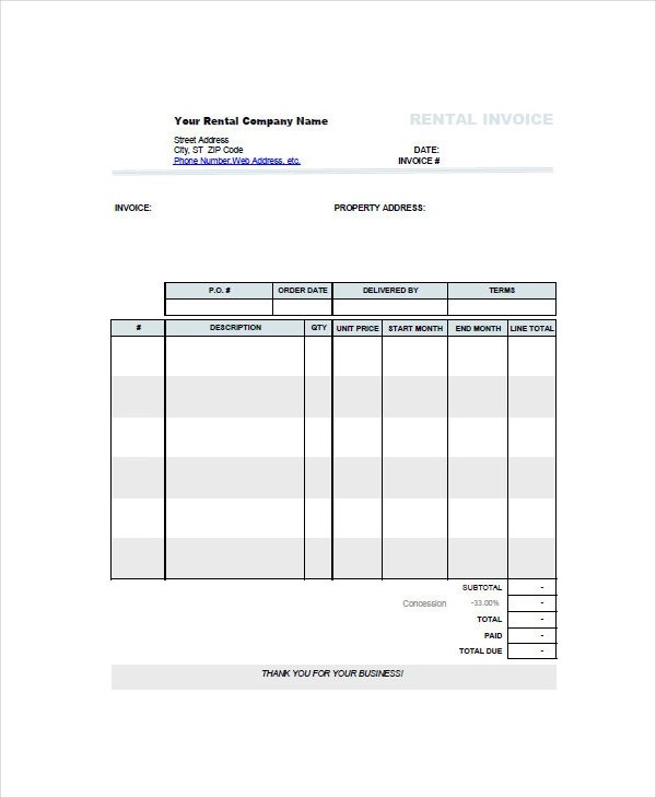 5+ Rent Invoice Examples  Samples - invoice for rent