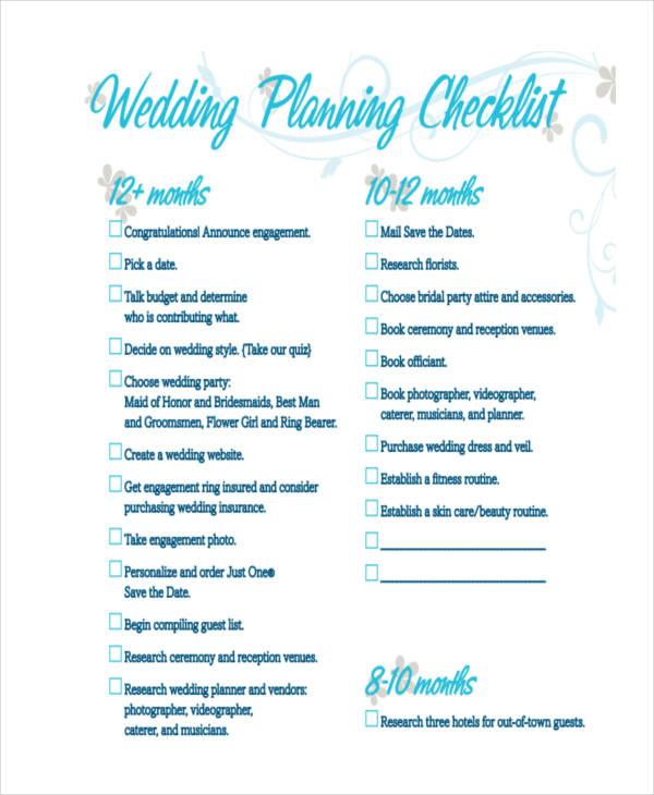 10+ Wedding Plan Examples, Samples