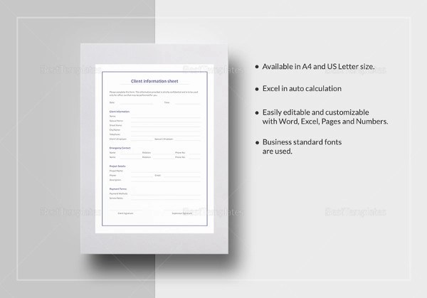 ... 13+ Examples Of Client Information Sheets   Rate Sheet Templates ...  Information Sheets Templates