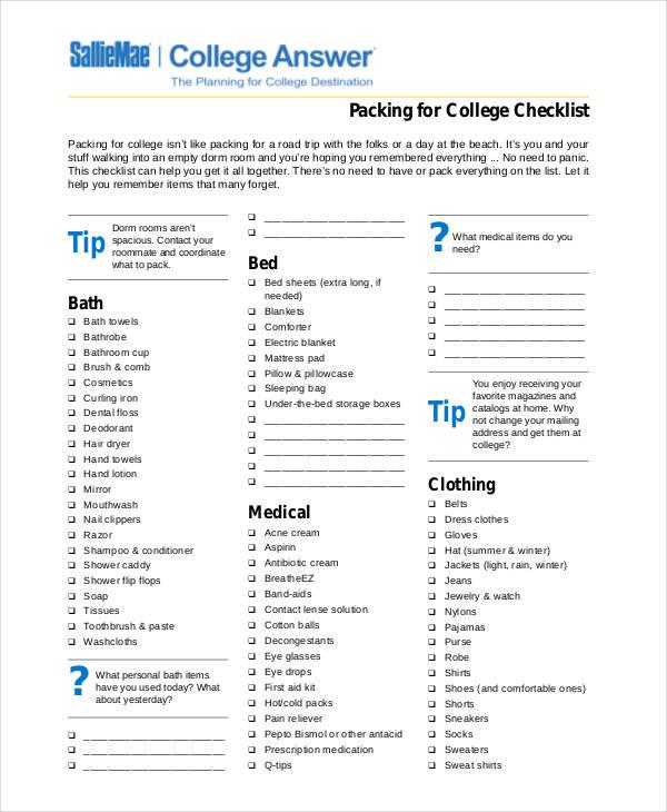 26+ Printable Checklist Examples