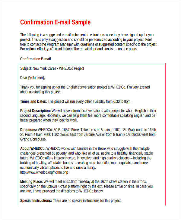 7+ Confirmation Email Examples  Samples