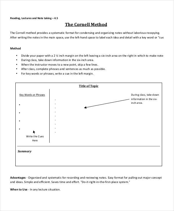 8+ Cornell Note Examples  Samples - Sample Cornell Note