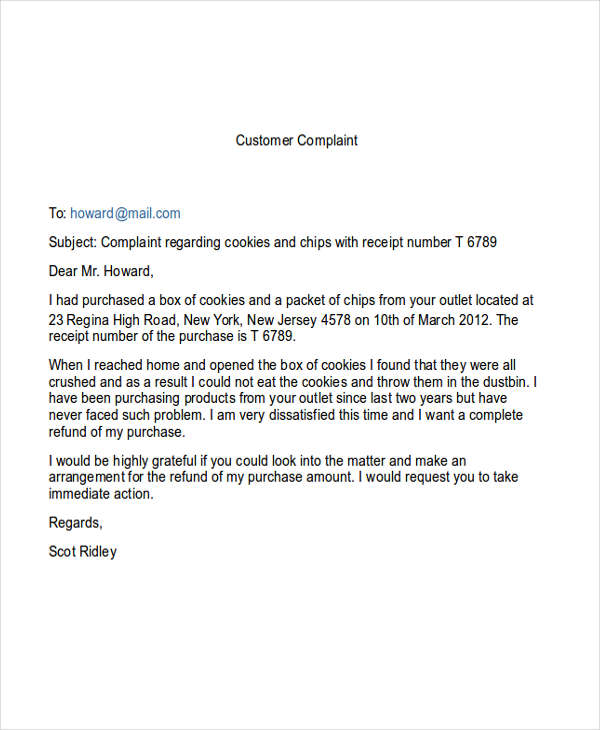 5+ Complaint Email Examples  Samples - DOC - complaint email template