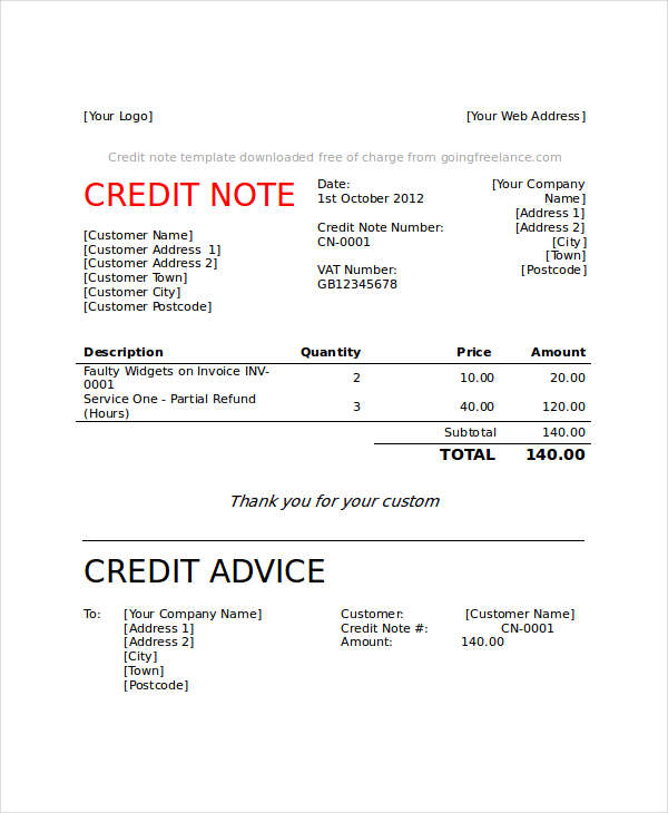 6+ Credit Note Examples  Samples
