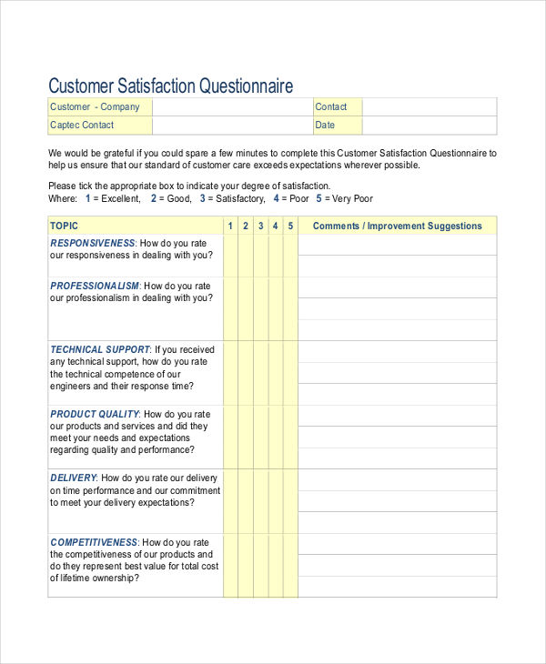 7+ Customer Service Questionnaire Examples, Samples - sample client satisfaction survey