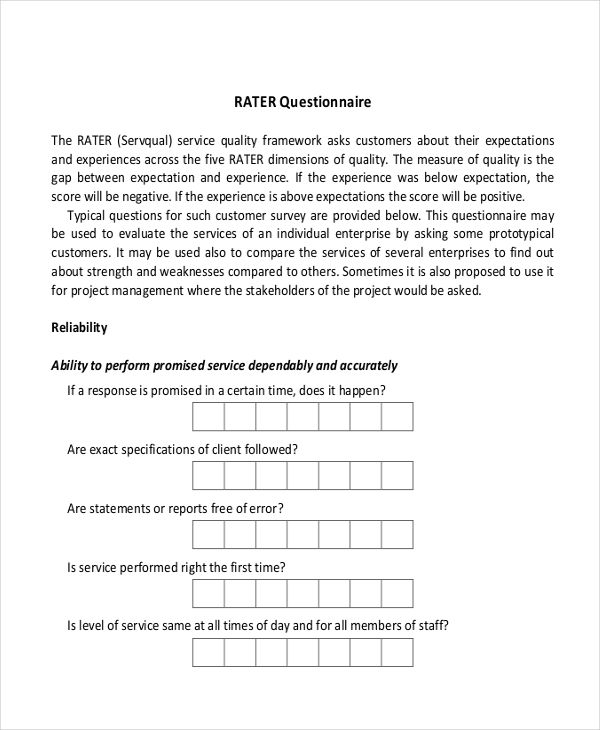 customer questionnaire examples