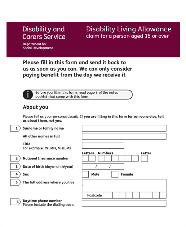 6+ Disability Application Examples, Samples - disability form