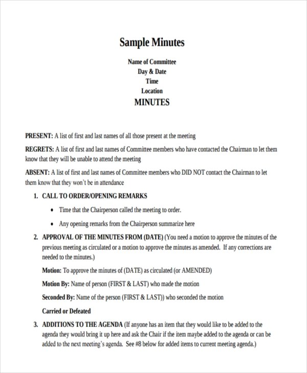 9+ Minutes Writing Examples  Samples - PDF, DOC