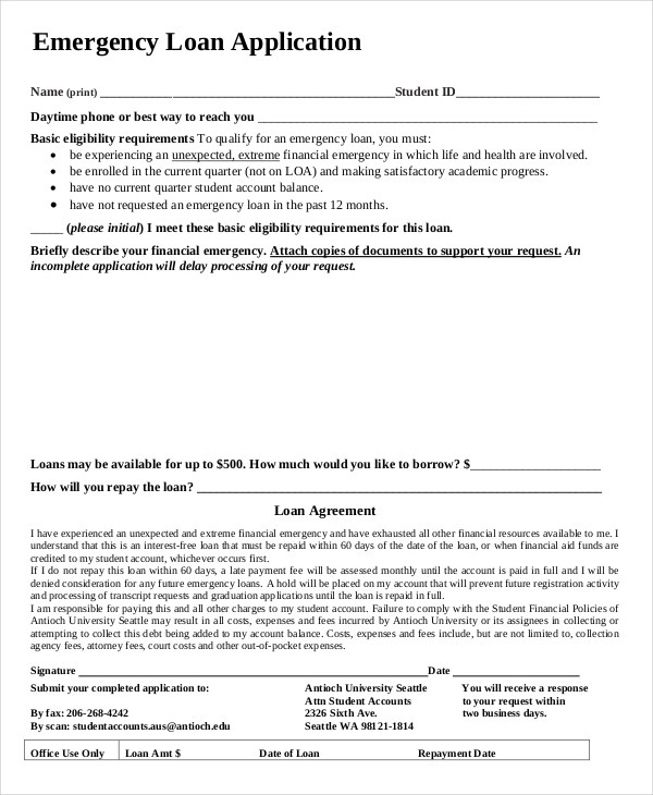 11+ Loan Application Examples, Samples - students loan application form