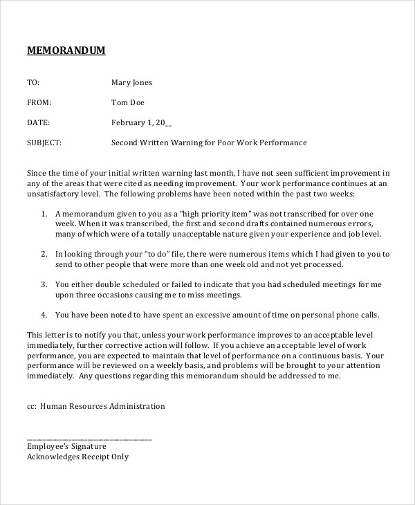 6+ Employee Memo Examples, Samples - disciplinary memo template