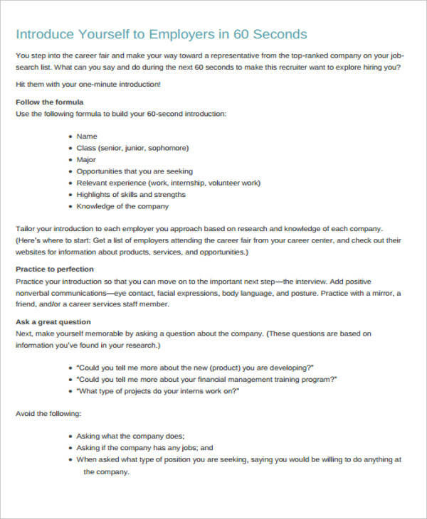5+ Self-Introduction Speech Examples  Samples - PDF, Word