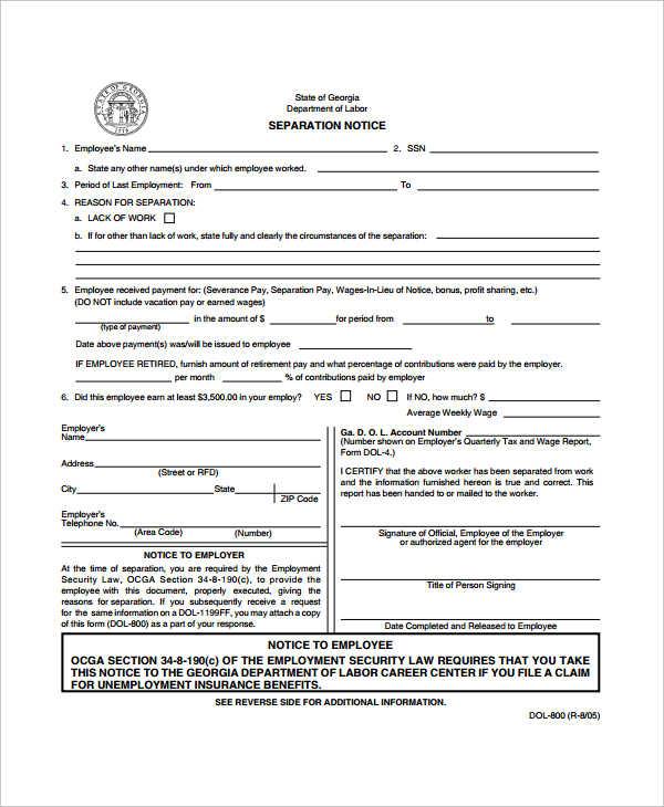 10+ Separation Agreement Templates u2013 Free Sample, Example - employment separation agreement