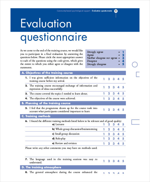 8+ Training Questionnaire Examples, Samples - training survey template