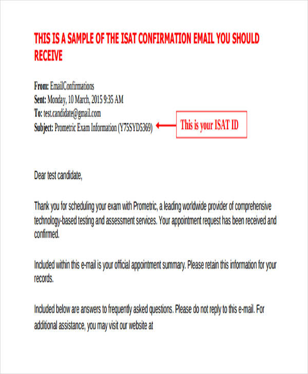 7+ Confirmation Email Examples  Samples - sample confirmation email