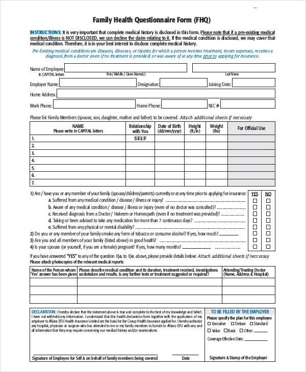 35+ Health Questionnaire Examples - PDF, DOC