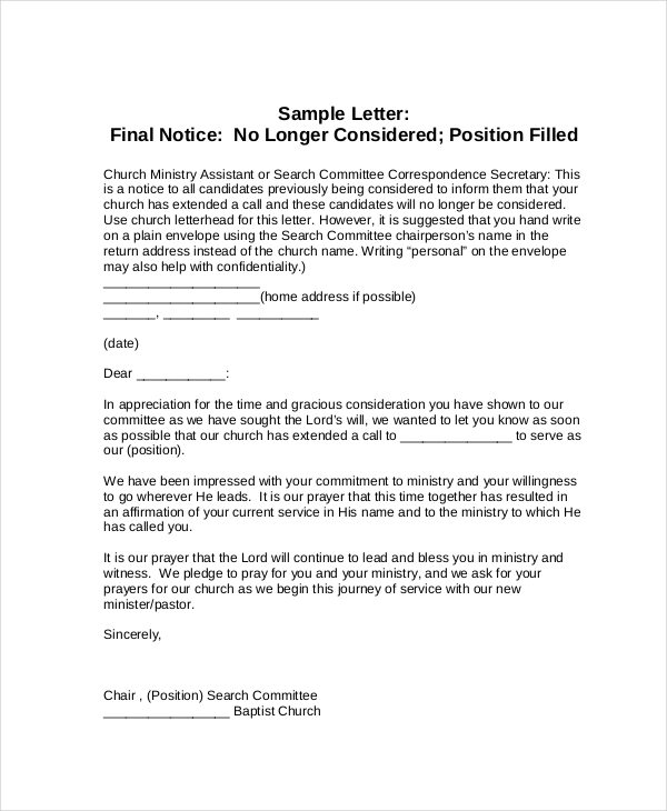 19+ Notice Letter Examples  Samples - final notice letter