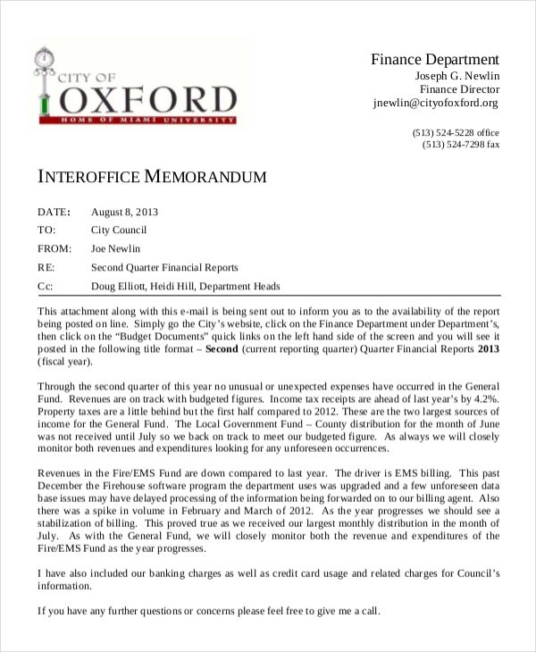 business memorandum format sample