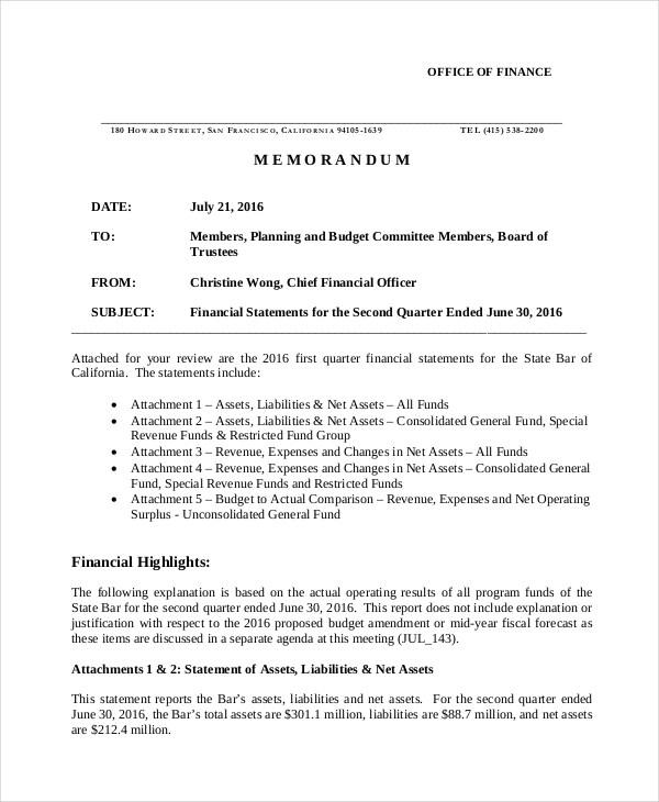 10+ Financial Memo Examples  Samples - PDF, Word, Pages
