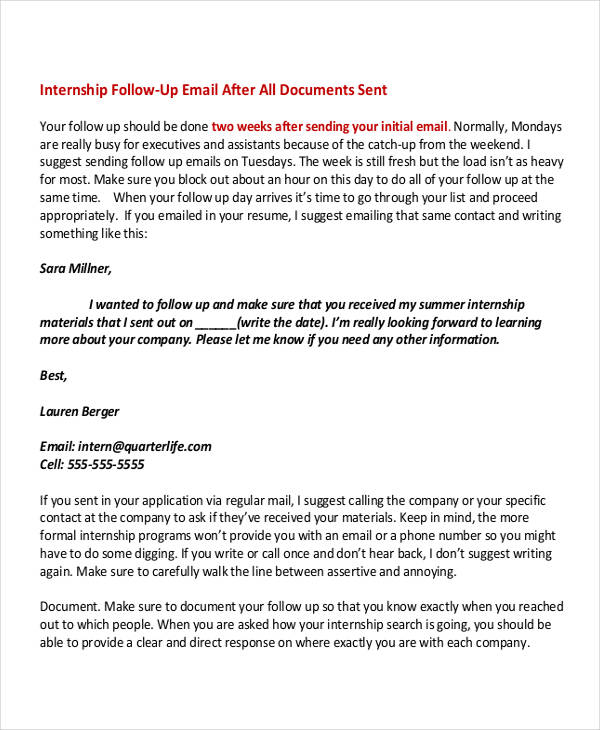 6+ Internship Email Examples  Samples - PDF - how to write a follow up email