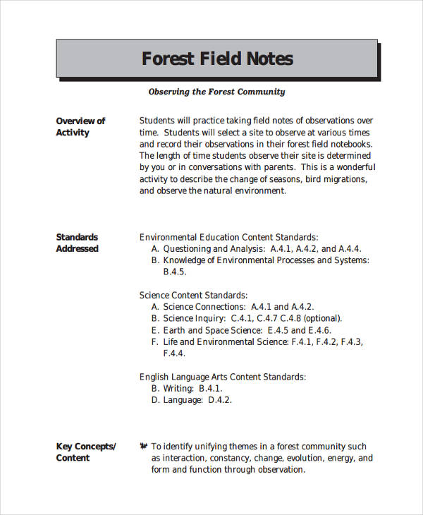 8+ Field Notes Examples  Samples