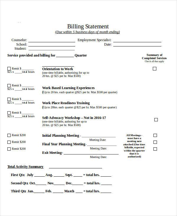 6+ Billing Statement Examples, Samples - billing statement template