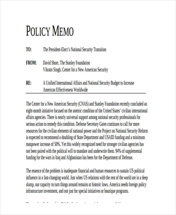 Sample Policy Memo Human Service Policy Memo Template Example - policy memo template