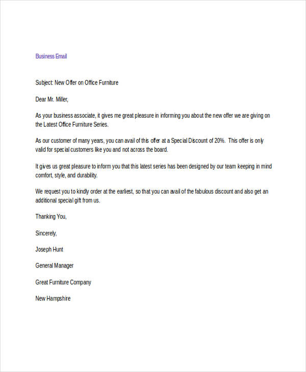 9+ Business Email Examples  Samples - PDF, DOC - sample business email
