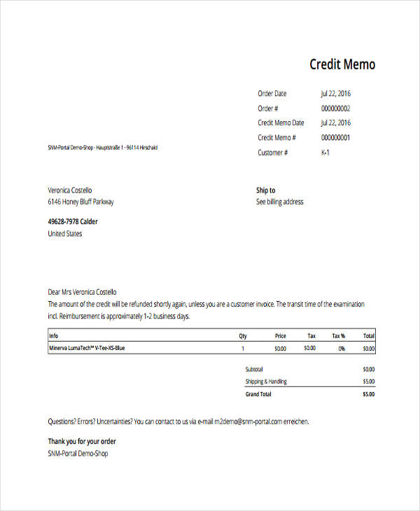 7+ Credit Memo Examples, Samples   Credit Memo Sample