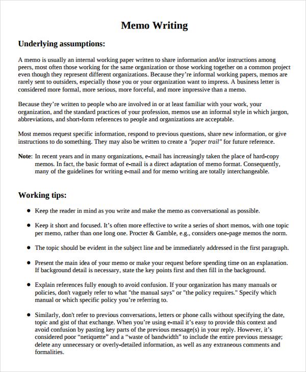 8+ Memo Writing Examples  Samples - PDF, DOC