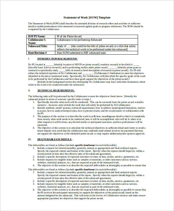 statement of work example doc
