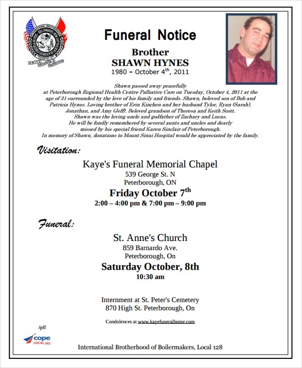 6+ Funeral Notice Examples  Samples