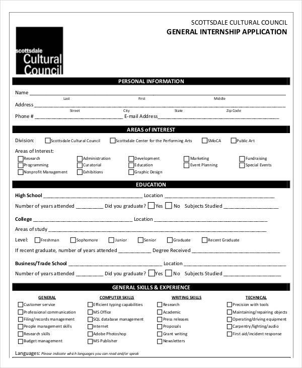 8+ Internship Application Examples, Samples - applications sample
