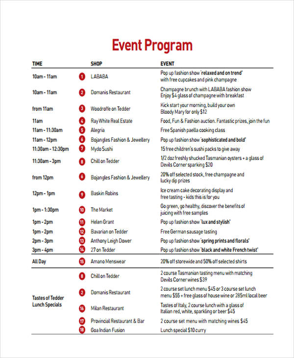 event program examples - Roho4senses - Event Program