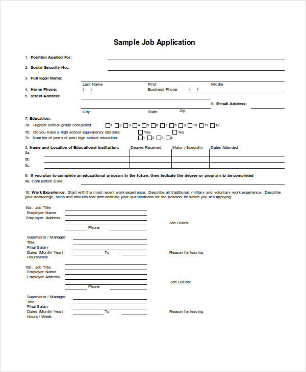 30+ Free Application Examples - generic employment application