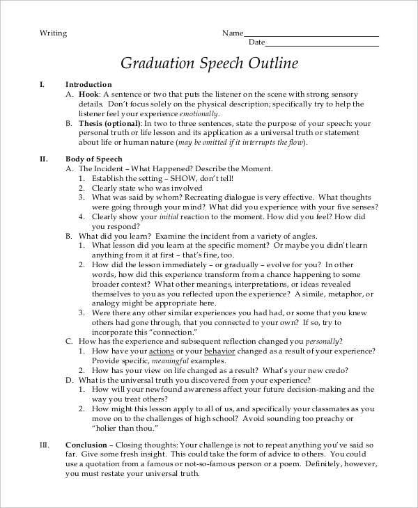 8+ Graduation Speech Examples  Samples - PDF
