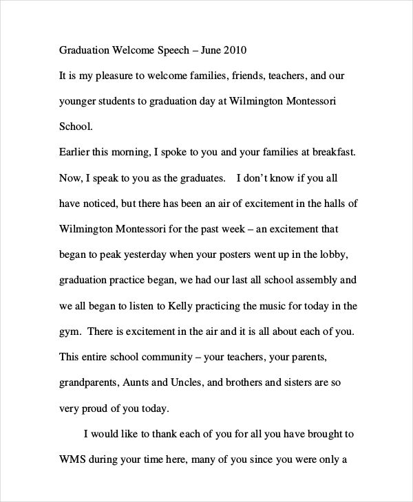 8+ Graduation Speech Examples  Samples - PDF Examples