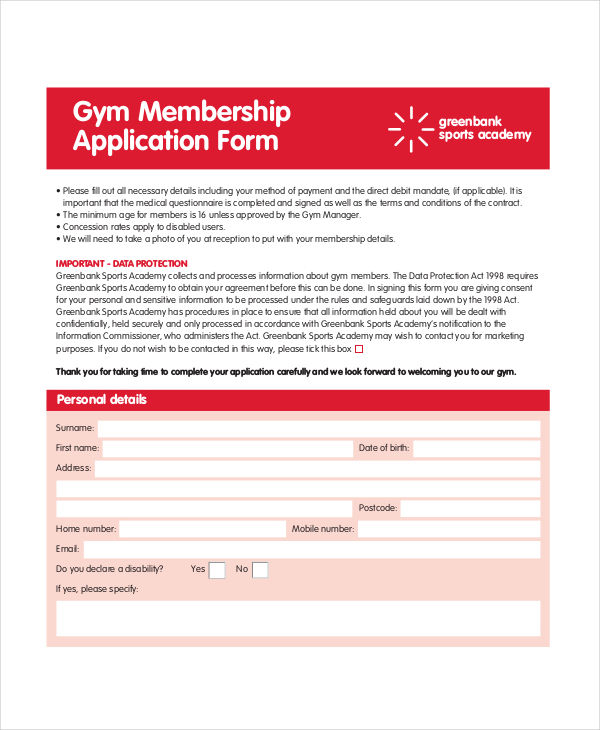 8+ Membership Application Examples  Samples