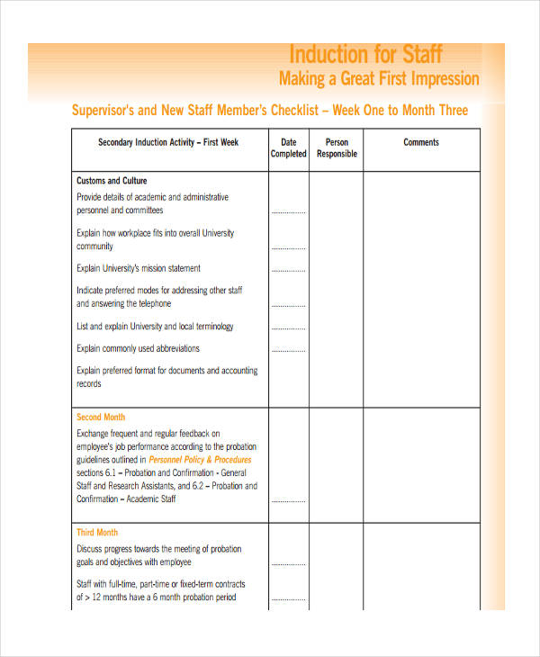 8+ Induction Checklist Examples, Samples - induction checklist template