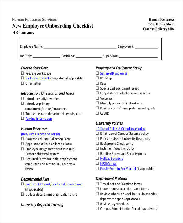 27+ HR Checklist Examples, Samples