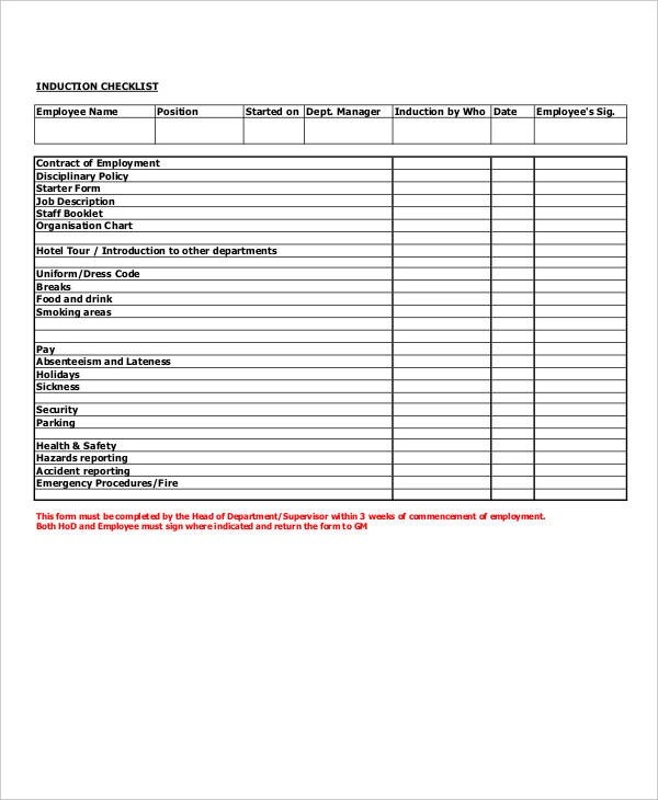 10+ Examples of Training Checklists - sample training checklist template
