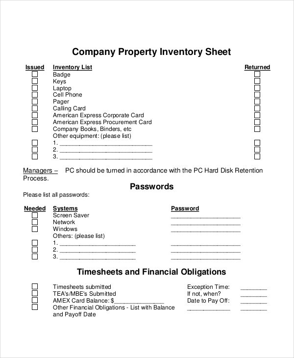 5+ Property Inventory Examples, Samples - inventory list example