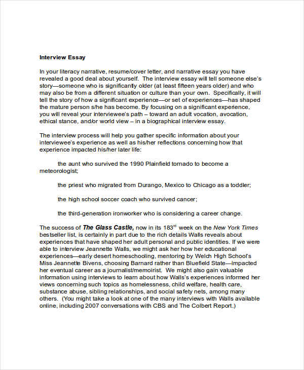 example of interview essays