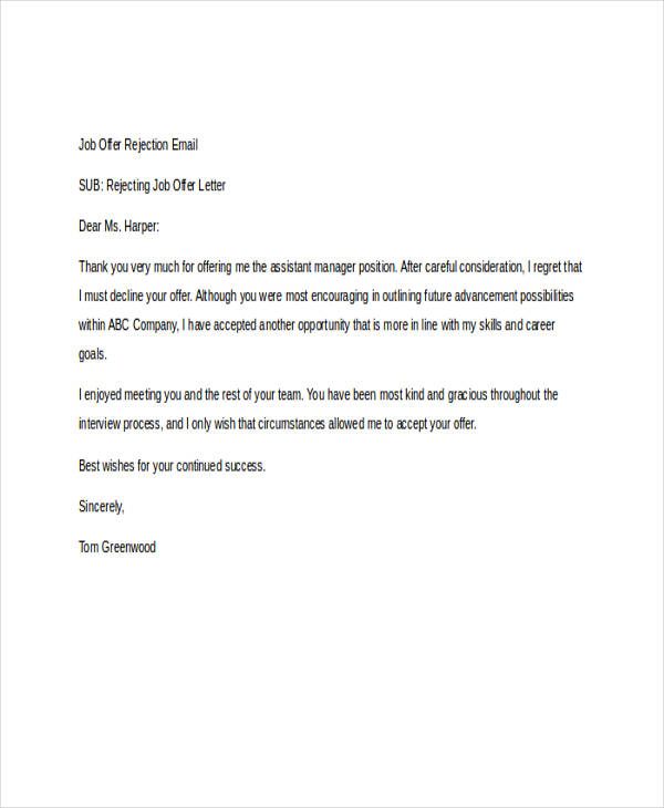 8+ Rejection Email Examples  Samples - politely turning down a job offer
